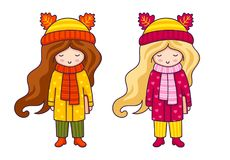 Gulliga små flickor i höst täcker och hattar med öron av djur stock illustrationer