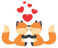 Gulliga små rävar som kysser valentindagkortet stock illustrationer