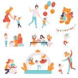 Gulliga små ungar som firar deras födelsedaguppsättning, barn som mottar gåvor och har gyckel med deras vänner på födelsedagen royaltyfri illustrationer