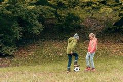 gulliga små ungar som spelar fotboll Royaltyfria Foton