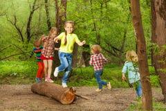 Gulliga små ungar som spelar på en inloggning skogen Royaltyfria Bilder