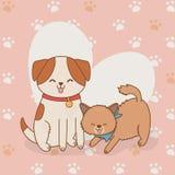 Gulliga små vovve- och pottmaskot stock illustrationer