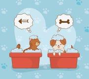 Gulliga små vovve- och pottmaskot royaltyfri illustrationer