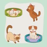 Gulliga små vovve- och pottmaskot vektor illustrationer