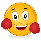 Gulliga Smiley Emoticon med boxninghandskar Fotografering för Bildbyråer
