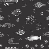 Gulliga sommarfiskar seamless modell Royaltyfri Bild