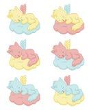 Gulliga sova ängel-katter Arkivbild