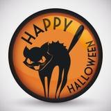 Gulliga stiliserade skrämda Cat Halloween Button, vektorillustration Arkivfoton