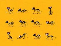 Gulliga svarta katter Vektor Illustrationer