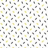Gulliga svarta och guld- konfettier, geometrisk sömlös modell vektor illustrationer