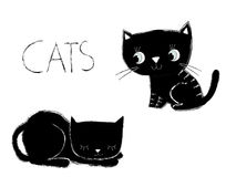 Gulliga svartvita katter royaltyfri illustrationer