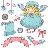 gulliga symboler för ängel stock illustrationer