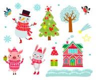 gulliga tecken Julvektoruppsättning av djur royaltyfri illustrationer