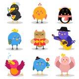 Gulliga tecknad filmfåglar med olika sinnesrörelser och lägen, färgrika teckenvektorillustrationer vektor illustrationer