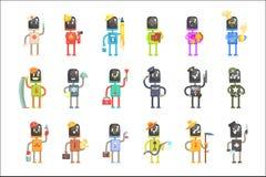 Gulliga tecknad filmrobotar i den olika yrkeuppsättningen av färgrika teckenvektorillustrationer royaltyfri illustrationer