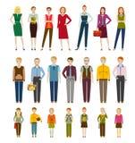 Gulliga tecknad filmtecken Män, kvinnor och ungar vektor illustrationer