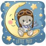 Gulliga Teddy Bear i en pilot- hatt sitter på månen stock illustrationer