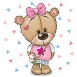Gulliga Teddy Bear med en pilbåge på en vit bakgrund royaltyfri illustrationer