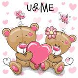 Gulliga Teddy Bears med hjärta vektor illustrationer