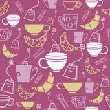 Gulliga tepåsar, kopp/rånar med gulligt te lägger in den sömlösa modellen vektor illustrationer