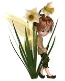 Gulliga Toon Daffodil Fairy Boy royaltyfri illustrationer