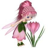 Gulliga Toon Pink Crocus Fairy som står vid en blomma Arkivbilder