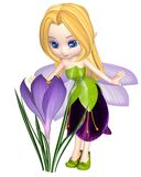 Gulliga Toon Purple Crocus Fairy som står royaltyfri illustrationer