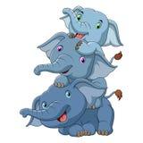 Gulliga tre behandla som ett barn elefanten royaltyfri illustrationer