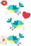 Gulliga tre förälskelsefåglar Arkivfoton