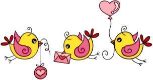 Gulliga tre gula fåglar för förälskelse vektor illustrationer
