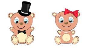 Gulliga två, härlig, brunbjörnflicka och pojke med det stora huvudet och blåa ögon i en cylinder- och fluga-, pilbåge- och pärlah Arkivfoto