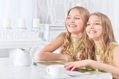 Gulliga tvilling- systrar med den moderna tidskriften Royaltyfria Bilder