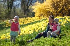 Gulliga tvilling- systrar, omfamning på ett bakgrundsfält med gula blommor, lyckliga gulliga och härliga systrar som har gyckel m royaltyfri foto