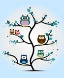 Gulliga ugglor som sätta sig på ett träd Arkivbild