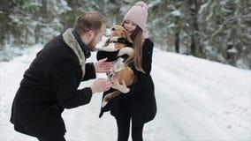 Gulliga unga hipsterpar som har gyckel i vinter, parkerar med deras hund på en ljust dag och le leka kvinna för man lager videofilmer