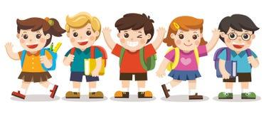Gulliga ungar går till skolan royaltyfri illustrationer