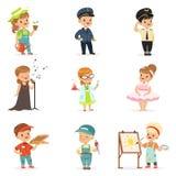 Gulliga ungar i olik yrkeuppsättning Le pyser och flickor i likformig med färgrik yrkesmässig utrustning vektor illustrationer