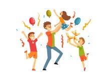 Gulliga ungar som firar partiet, lyckliga barn som har gyckel med clownen på födelsedagen, karnevalpartiet eller cirkuskapacitet vektor illustrationer