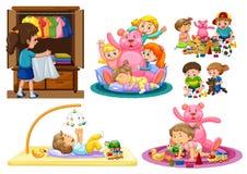 Gulliga ungar som spelar på huset vektor illustrationer