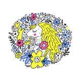Gulliga Unicorn Vector Royaltyfri Bild