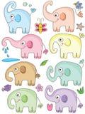 Gulliga uppsättningar för elefant Fotografering för Bildbyråer