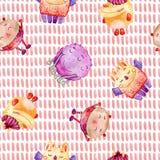 Gulliga vattenfärgmonster royaltyfri illustrationer