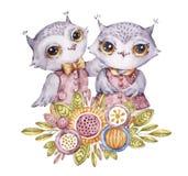 Gulliga vattenfärgugglor och blommor i barnslig stil royaltyfri illustrationer