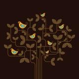 Gulliga vektorfåglar på ett träd Arkivfoton