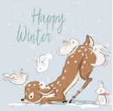 Gulliga vinterhjortar med hare royaltyfri illustrationer