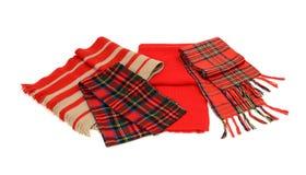 Gulliga vintertartanscarves med frans Arkivbild