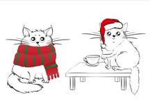 Gulliga vita katter på julbakgrund stock illustrationer