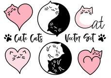 Gulliga yinyang katter, vektoruppsättning stock illustrationer