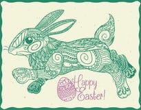 Gulliga Zen Tangle Stylized Easter Bunny, vektorillustration Arkivbilder