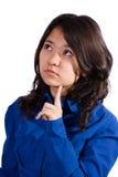 Gulligt asiatiskt tänka för flicka Arkivfoto